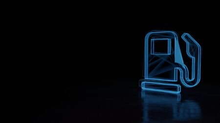 3d techno neon blue glowing wireframe with glitches symbol of gas pump station with pedestal isolated on black background with distorted reflection on floor Stok Fotoğraf