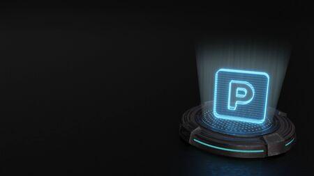 blue stripes digital laser 3d hologram symbol of parking in rounded square render on old metal sci-fi pad background Foto de archivo