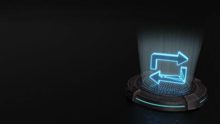 blue stripes digital laser 3d hologram symbol of repeat sign render on old metal sci-fi pad background