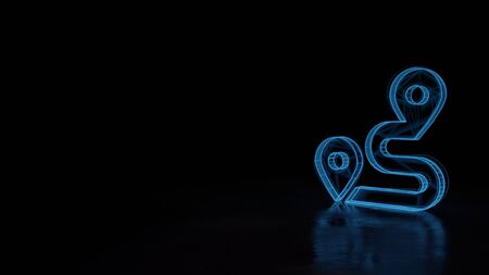 Filaire bleu néon techno 3d avec symbole de défauts et itinéraire isolé sur fond noir avec réflexion déformée sur le sol