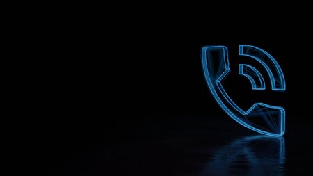 3d techno neon blue glowing wireframe with glitches symbol of phone with two sound waves isolated on black background with distorted reflection on floor