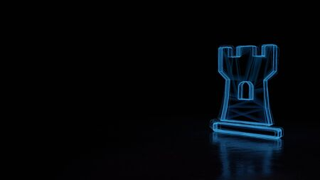 3d techno neon blue glowing wireframe with glitches symbol of chess rook figure isolated on black background with distorted reflection on floor Foto de archivo
