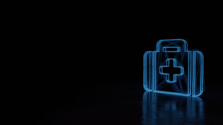 3d techno neon blue glowing wireframe with glitches symbol of medical bag with cross isolated on black background with distorted reflection on floor