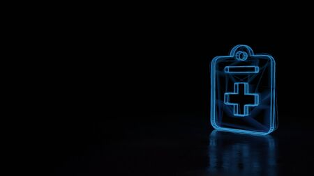3d techno neon blue glowing wireframe with glitches symbol of medical notes with cross isolated on black background with distorted reflection on floor