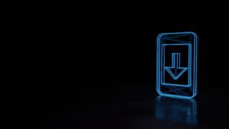 3d techno neon blue glowing wireframe with glitches symbol of mobile phone with down arrow on screen isolated on black background with distorted reflection on floor Stok Fotoğraf