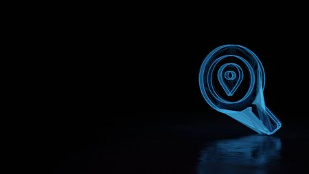 3d techno neon blue glowing wireframe with glitches symbol of magnifying glass with placeholder isolated on black background with distorted reflection on floor