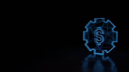 3d techno neon blue glowing wireframe with glitches symbol of gear with dollar symbol isolated on black background with distorted reflection on floor Stok Fotoğraf