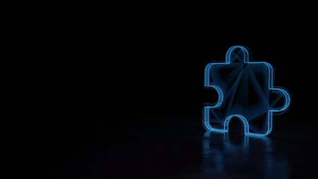 3d techno neon blue glowing wireframe with glitches symbol of puzzle piece isolated on black background with distorted reflection on floor