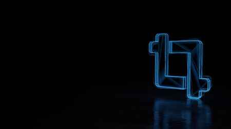3d techno neon blue glowing wireframe with glitches symbol of crop frame isolated on black background with distorted reflection on floor