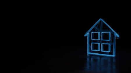 3d techno neon blue glowing wireframe with glitches symbol of home with four windows isolated on black background with distorted reflection on floor