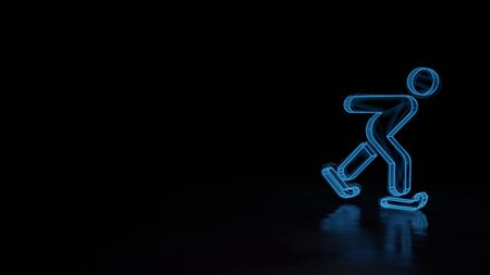 3d techno neon blue glowing wireframe with glitches symbol of skating figure isolated on black background with distorted reflection on floor Stok Fotoğraf