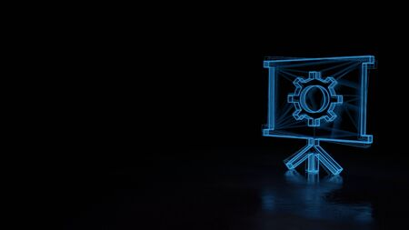3d techno neon blue glowing wireframe with glitches symbol of presentation board with cogwheel isolated on black background with distorted reflection on floor