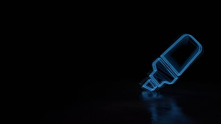 3d techno neon blue glowing wireframe with glitches symbol of highlighter marker isolated on black background with distorted reflection on floor