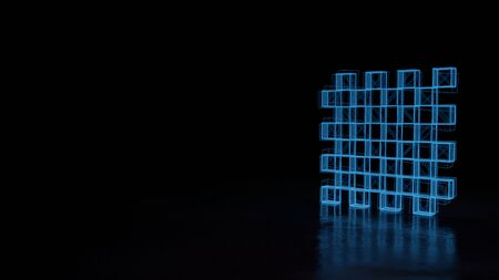 3d techno neon blue glowing wireframe with glitches symbol of chess board isolated on black background with distorted reflection on floor Stok Fotoğraf