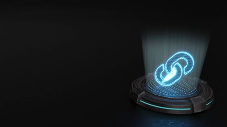 blue stripes digital laser 3d hologram symbol of two thick chain links render on old metal sci-fi pad background