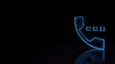 3d techno neon blue glowing wireframe with glitches symbol of headphone with signal dots isolated on black background with distorted reflection on floor