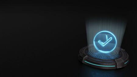 blue stripes digital laser 3d hologram symbol of check mark in circle render on old metal sci-fi pad background