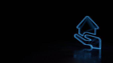 3d techno neon blue glowing wireframe with glitches symbol of house in hand isolated on black background with distorted reflection on floor Archivio Fotografico - 129872249