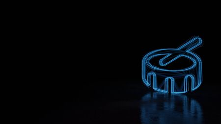 3d techno neon blue glowing wireframe with glitches symbol of drum and stick isolated on black background with distorted reflection on floor