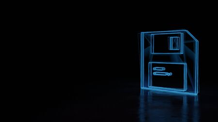 3d techno neon blue glowing wireframe with glitches symbol of floppy disk isolated on black background with distorted reflection on floor 版權商用圖片
