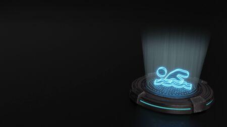 blue stripes digital laser 3d hologram symbol of swimmer render on old metal sci-fi pad background Stok Fotoğraf