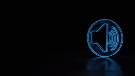 3d techno neon blue glowing wireframe with glitches symbol of speaker in circle high isolated on black background with distorted reflection on floor Stok Fotoğraf
