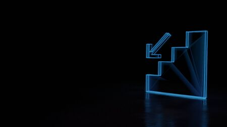 3d techno neon blue glowing wireframe with glitches symbol of stairs with down arrow isolated on black background with distorted reflection on floor