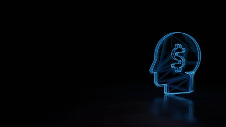 3d techno neon blue glowing wireframe with glitches symbol of head silhouette with dollar symbol inside isolated on black background with distorted reflection on floor Stock fotó