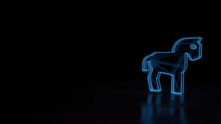 3d techno neon blue glowing wireframe with glitches symbol of horse from profile isolated on black background with distorted reflection on floor