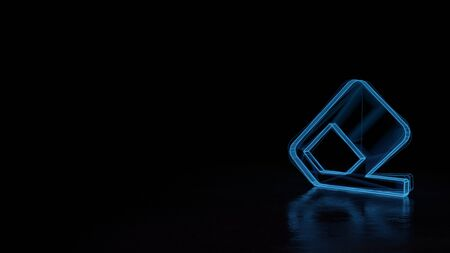 3d techno neon blue glowing wireframe with glitches symbol of eraser on surface isolated on black background with distorted reflection on floor