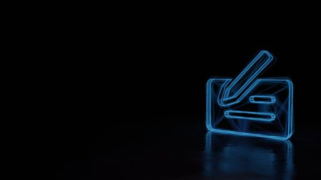 3d techno neon blue glowing wireframe with glitches symbol of bank cheque with pen isolated on black background with distorted reflection on floor