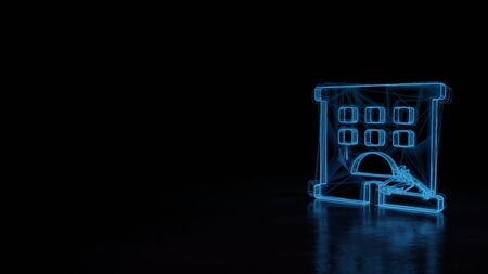 3d techno neon blue glowing wireframe with glitches symbol of hotel building isolated on black background with distorted reflection on floor