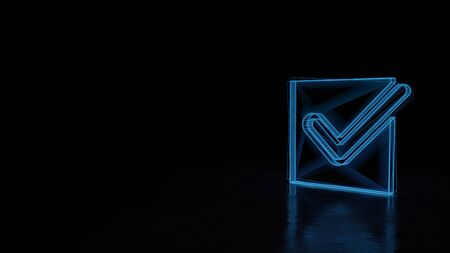 3d techno neon blue glowing wireframe with glitches symbol of check mark in square isolated on black background with distorted reflection on floor