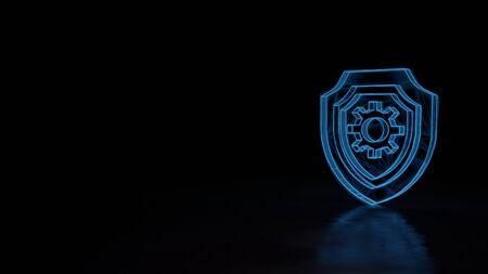 3d techno neón azul brillante estructura metálica con fallos símbolo de escudo con rueda dentada en el interior aislado sobre fondo negro con reflejo distorsionado en el piso