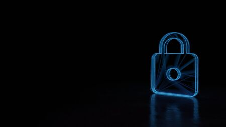 3d techno neon blue glowing wireframe with glitches symbol of locked padlock isolated on black background with distorted reflection on floor Banco de Imagens