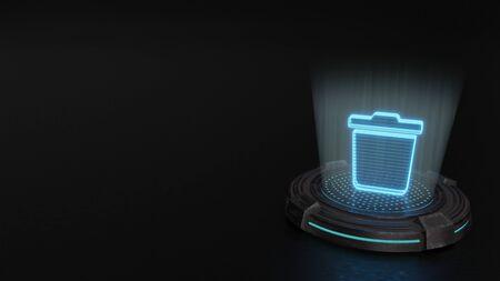 blue stripes digital laser 3d hologram symbol of trash bin render on old metal sci-fi pad background Imagens