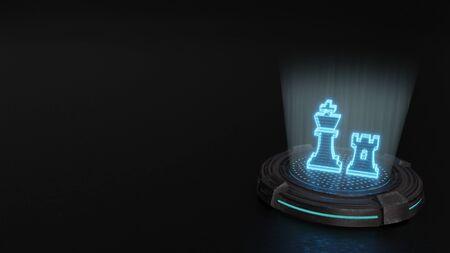 blue stripes digital laser 3d hologram symbol of chess king and rook figures render on old metal sci-fi pad background
