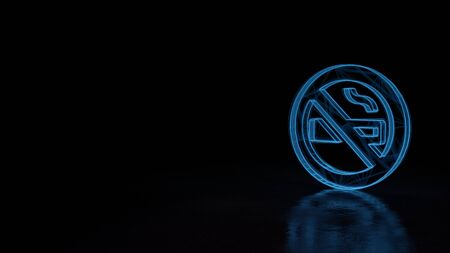 3d techno neon blue glowing wireframe with glitches symbol of cigarette in ban circle with slash isolated on black background with distorted reflection on floor Stok Fotoğraf