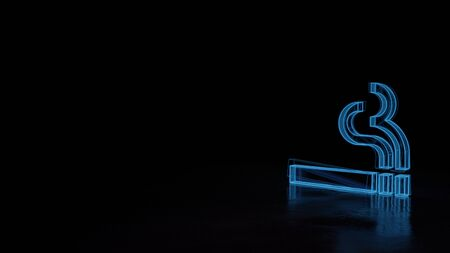 3d techno neon blue glowing wireframe with glitches symbol of cigarette and smoke lines isolated on black background with distorted reflection on floor