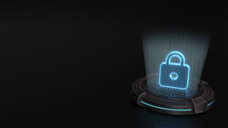 blue stripes digital laser 3d hologram symbol of locked padlock render on old metal sci-fi pad background