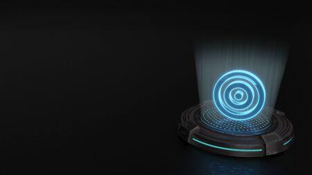 blue stripes digital laser 3d hologram symbol of target render on old metal sci-fi pad background Stock Photo