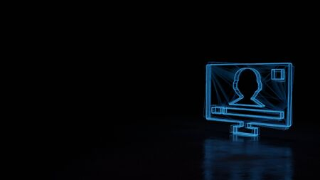 3d techno neon blue glowing wireframe with glitches symbol of television with menu on screen isolated on black background with distorted reflection on floor