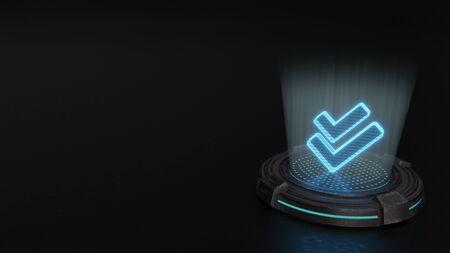 blue stripes digital laser 3d hologram symbol of double check mark render on old metal sci-fi pad background 写真素材