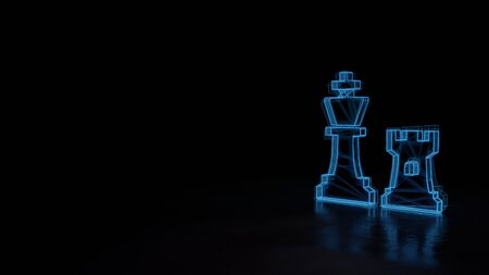 3d techno neon blue glowing wireframe with glitches symbol of chess king and rook figures isolated on black background with distorted reflection on floor