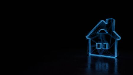 3d techno neon blue glowing wireframe with glitches symbol of house with windows and chimney isolated on black background with distorted reflection on floor Archivio Fotografico - 129873482