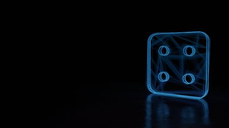 3d techno neon blue glowing wireframe with glitches symbol of dice with four dots isolated on black background with distorted reflection on floor