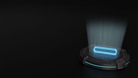blue stripes digital laser 3d hologram symbol of minus symbol render on old metal sci-fi pad background