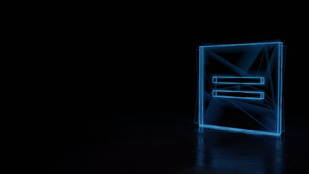 3d techno neon blue glowing wireframe with glitches symbol of equal symbol in square isolated on black background with distorted reflection on floor