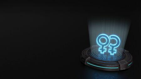 blue stripes digital laser 3d hologram symbol of two venus woman signs render on old metal sci-fi pad background 版權商用圖片