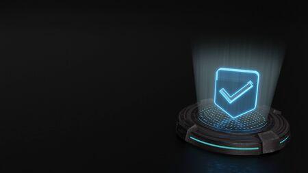 blue stripes digital laser 3d hologram symbol of label with check mark render on old metal sci-fi pad background